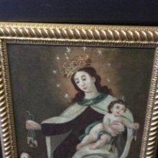 Arte: OLEO SOBRE LIENZO S.XVIII VIRGEN DEL CARMEN CON ESCAPULARIOS. Lote 121323230