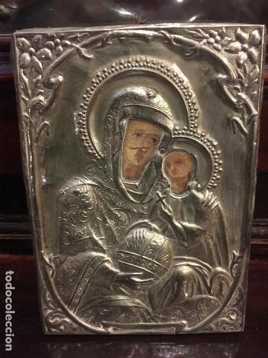 ICONO EN PLATA, PINTADO A MANO (Arte - Arte Religioso - Iconos)