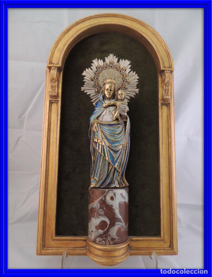 VIRGEN DEL PILAR EN ESMALTE BRONCE Y MARMOL FIRMADA MORATO MAGNIFICA (Arte - Arte Religioso - Escultura)