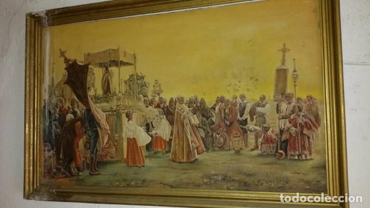 CUADRO ANTIGUO PROCESION (Arte - Arte Religioso - Pintura Religiosa - Oleo)