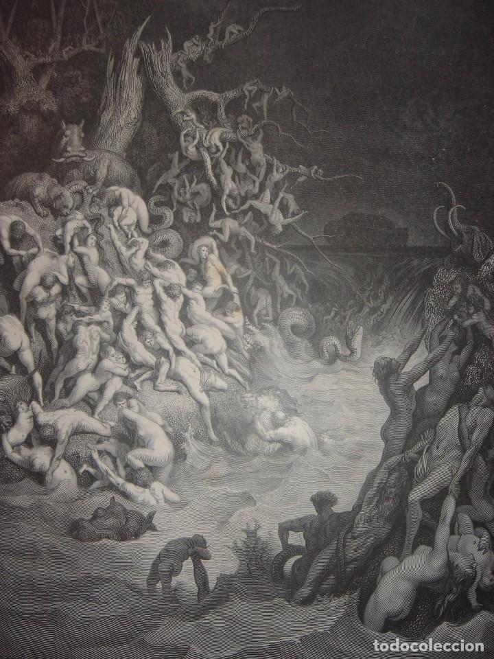 GRABADO RELIGIOSO, EL DILUVIO UNIVERSAL, DORÉ-PANNEMAKER, ORIGINAL, BARCELONA,1883,GRAN TAMAÑO (Arte - Arte Religioso - Grabados)