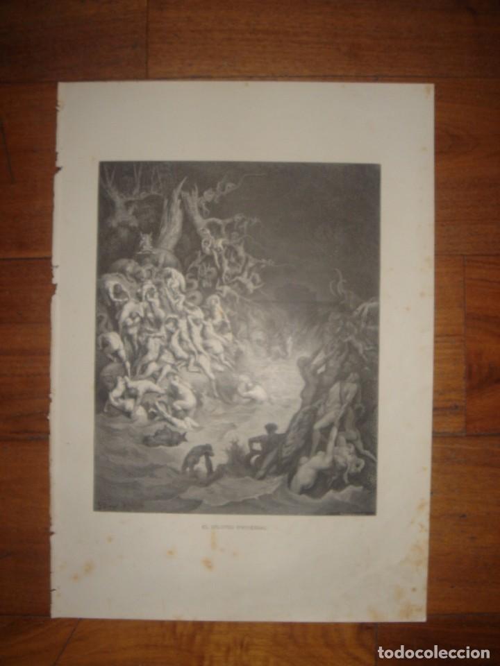 Arte: GRABADO RELIGIOSO, EL DILUVIO UNIVERSAL, DORÉ-PANNEMAKER, ORIGINAL, BARCELONA,1883,GRAN TAMAÑO - Foto 2 - 68371101