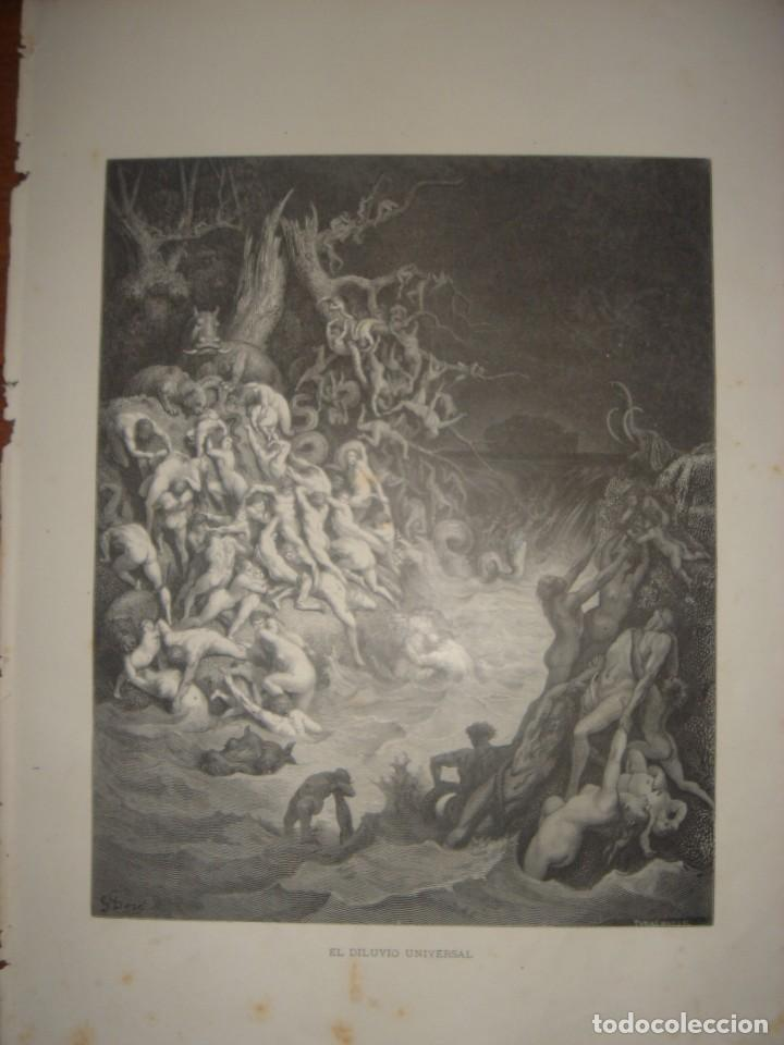 Arte: GRABADO RELIGIOSO, EL DILUVIO UNIVERSAL, DORÉ-PANNEMAKER, ORIGINAL, BARCELONA,1883,GRAN TAMAÑO - Foto 3 - 68371101