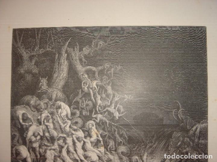 Arte: GRABADO RELIGIOSO, EL DILUVIO UNIVERSAL, DORÉ-PANNEMAKER, ORIGINAL, BARCELONA,1883,GRAN TAMAÑO - Foto 4 - 68371101
