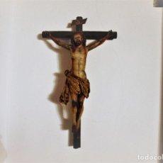 Arte: CRISTO CRUCIFICADO TALLA MADERA SIGLO XVII-XVIII - POLICROMIA . Lote 68380025