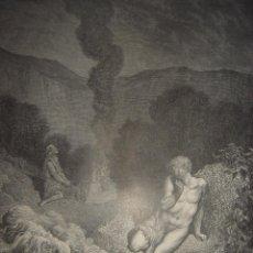 Arte: GRABADO RELIGIOSO, CAÍN Y ABEL , DORÉ-PANNEMAKER, ORIGINAL, BARCELONA,1883,GRAN TAMAÑO. Lote 68442757