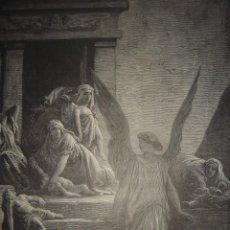 Arte: GRABADO RELIGIOSO, MUERTE PRIMOGÉNITOS EGIPTO , DORÉ-PISAN, ORIGINAL, BARCELONA,1883,GRAN TAMAÑO. Lote 68445673
