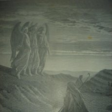 Arte: GRABADO RELIGIOSO,ABRAHAM VISITADO POR LOS ÁNGELES, DORÉ-LIGNY, ORIGINAL, BARCELONA,1883,GRAN TAMAÑO. Lote 68446393