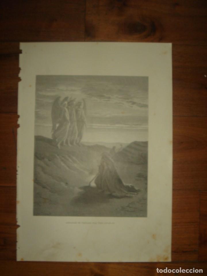 Arte: GRABADO RELIGIOSO,ABRAHAM VISITADO POR LOS ÁNGELES, DORÉ-LIGNY, ORIGINAL, BARCELONA,1883,GRAN TAMAÑO - Foto 2 - 68446393
