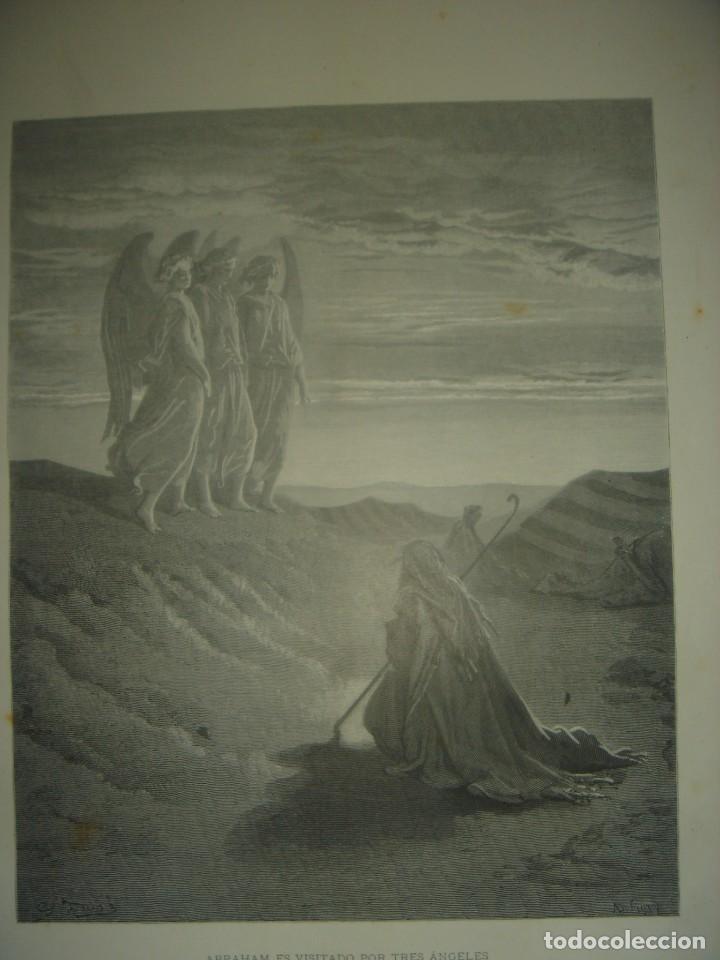 Arte: GRABADO RELIGIOSO,ABRAHAM VISITADO POR LOS ÁNGELES, DORÉ-LIGNY, ORIGINAL, BARCELONA,1883,GRAN TAMAÑO - Foto 3 - 68446393