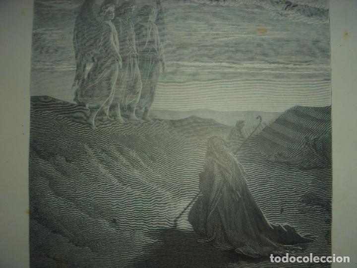 Arte: GRABADO RELIGIOSO,ABRAHAM VISITADO POR LOS ÁNGELES, DORÉ-LIGNY, ORIGINAL, BARCELONA,1883,GRAN TAMAÑO - Foto 5 - 68446393
