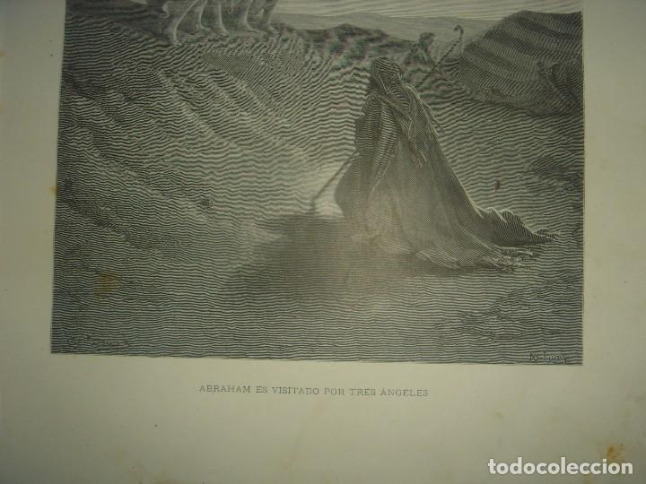 Arte: GRABADO RELIGIOSO,ABRAHAM VISITADO POR LOS ÁNGELES, DORÉ-LIGNY, ORIGINAL, BARCELONA,1883,GRAN TAMAÑO - Foto 6 - 68446393