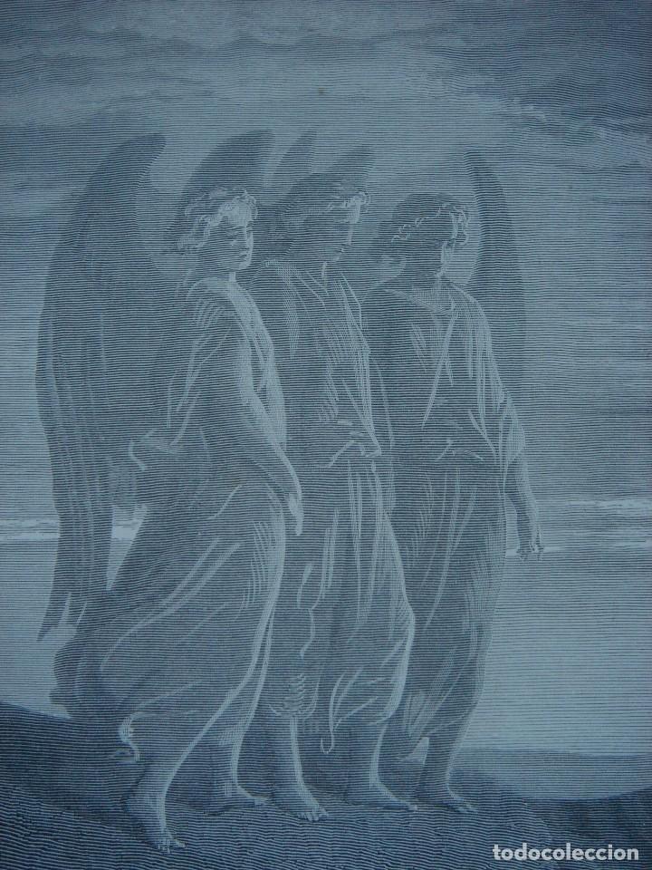 Arte: GRABADO RELIGIOSO,ABRAHAM VISITADO POR LOS ÁNGELES, DORÉ-LIGNY, ORIGINAL, BARCELONA,1883,GRAN TAMAÑO - Foto 7 - 68446393