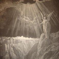 Arte: GRABADO RELIGIOSO,EL ÁNGEL MUESTRA JERUSALEN, DORÉ-PISAN,ORIGINAL, BARCELONA,1884,GRAN TAMAÑO. Lote 68498125