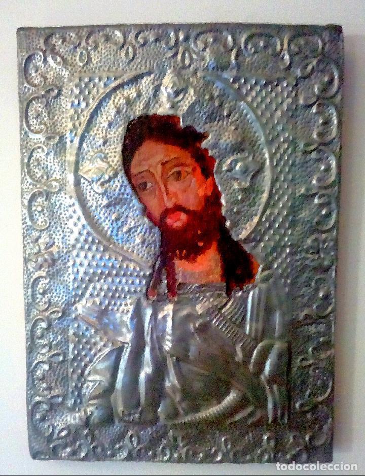 ANTIGUO ICONO DE CRISTO PINTADO A MANO SOBRE MADERA. (Arte - Arte Religioso - Iconos)