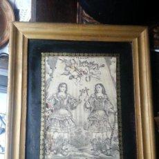 Arte: ESPECTACULAR GRABADO PATRONOS DE CADIZ SAN SERVANDO Y SAN GERMAN ENMARCADO CRISTAL ORO SIGLO XVIII. Lote 68639317