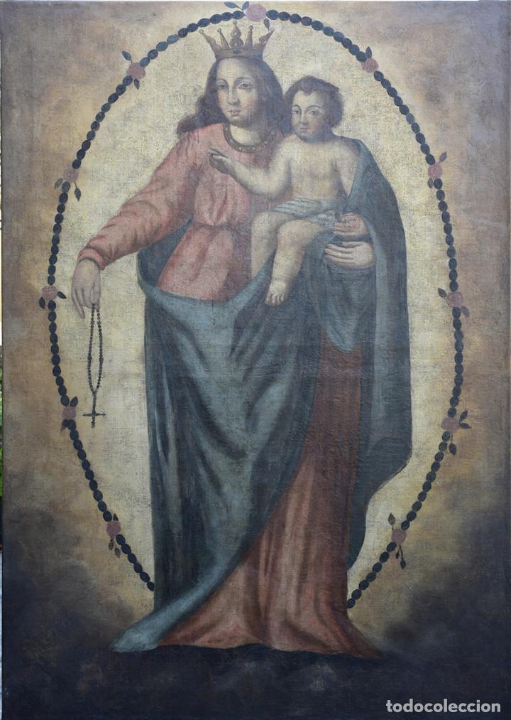 PINTURA ANTIGUA VIRGEN DEL ROSARIO. REENTELADO. (Arte - Arte Religioso - Pintura Religiosa - Oleo)