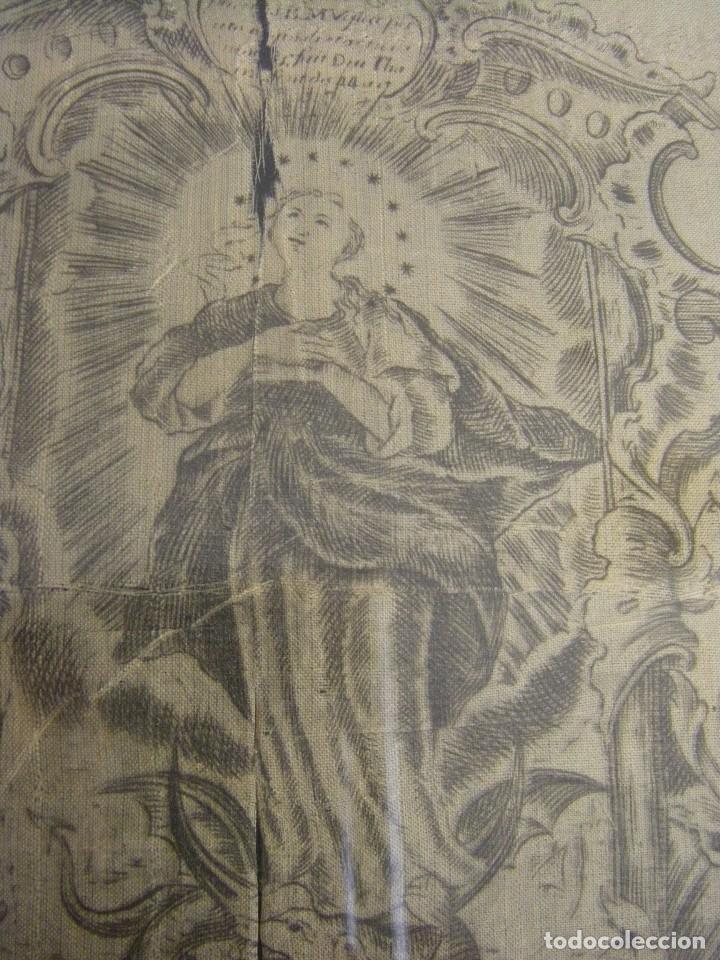 Arte: Grabado Seda s. XVIII Inmaculada de Alicante, Conde Soto Ameno Scorcia, de Pedro Paredes Orihuela - Foto 3 - 69384137