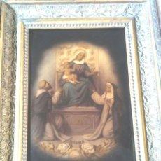 Arte: VIRGEN DEL ROSARIO, SANTO DOMINGO Y SANTA ROSA, CRISÓLEO CRISTAL PINTADO AL ÓLEO. MED 30 X 39 CM. Lote 69441921