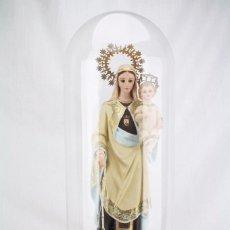 Arte: ESCULTURA VIRGEN DEL CARMEN CON EL NIÑO JESÚS CON URNA DE CRISTAL - YESO Y OJOS CRISTAL - ALT 62 CM. Lote 69827405