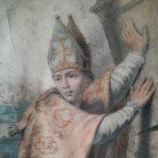 Arte: GRABADO DE SAN EMIDIO DE IMPRESIONANTE CALIDAD,FIRMADO EN PARIS 1860. Lote 70086365
