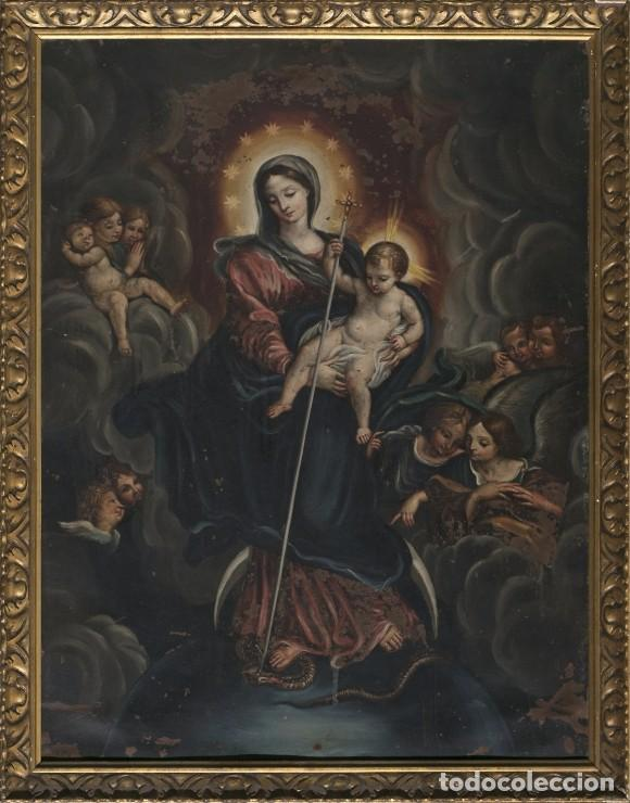 INMACULADA. OLEO SOBRE COBRE 57X43,8. ESCUELA ITALIANA SIGLO XVII (Arte - Arte Religioso - Pintura Religiosa - Oleo)