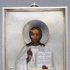 Arte: ICONO RUSO CRISTO BENDICIENDO PLATA SOBREDORADA MARCA IMPERIAL AA 84 1889. Lote 70137469
