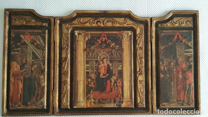 TRÍPTICO RELIGIOSO DE LA VIRGEN MARIA EL NIÑO JESUS.. ARTESANIAS GELBAR ZARAGOZA 52 X 96 CM (Arte - Arte Religioso - Trípticos)