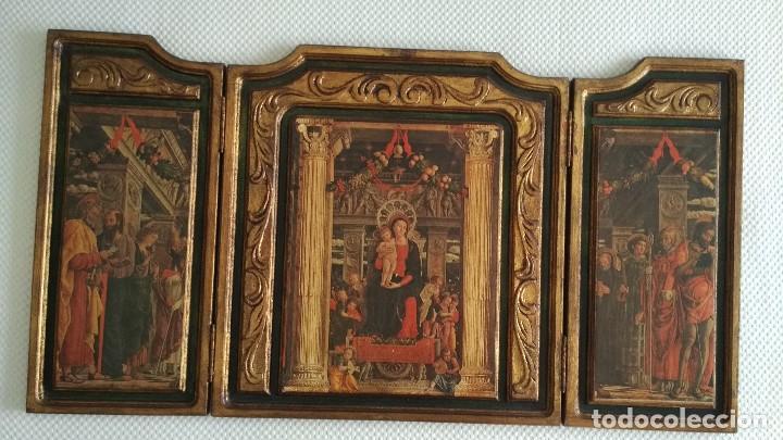 Arte: TRÍPTICO RELIGIOSO DE LA VIRGEN MARIA EL NIÑO JESUS.. ARTESANIAS GELBAR ZARAGOZA 52 X 96 CM - Foto 2 - 70370465