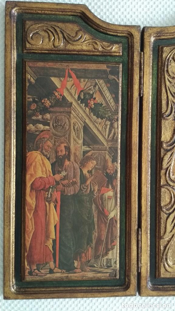 Arte: TRÍPTICO RELIGIOSO DE LA VIRGEN MARIA EL NIÑO JESUS.. ARTESANIAS GELBAR ZARAGOZA 52 X 96 CM - Foto 6 - 70370465