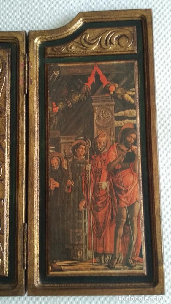 Arte: TRÍPTICO RELIGIOSO DE LA VIRGEN MARIA EL NIÑO JESUS.. ARTESANIAS GELBAR ZARAGOZA 52 X 96 CM - Foto 7 - 70370465