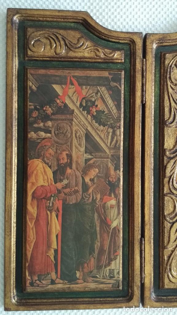 Arte: TRÍPTICO RELIGIOSO DE LA VIRGEN MARIA EL NIÑO JESUS.. ARTESANIAS GELBAR ZARAGOZA 52 X 96 CM - Foto 10 - 70370465