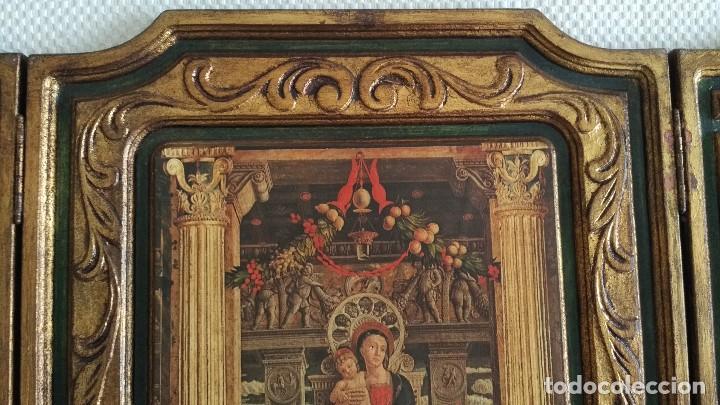 Arte: TRÍPTICO RELIGIOSO DE LA VIRGEN MARIA EL NIÑO JESUS.. ARTESANIAS GELBAR ZARAGOZA 52 X 96 CM - Foto 12 - 70370465