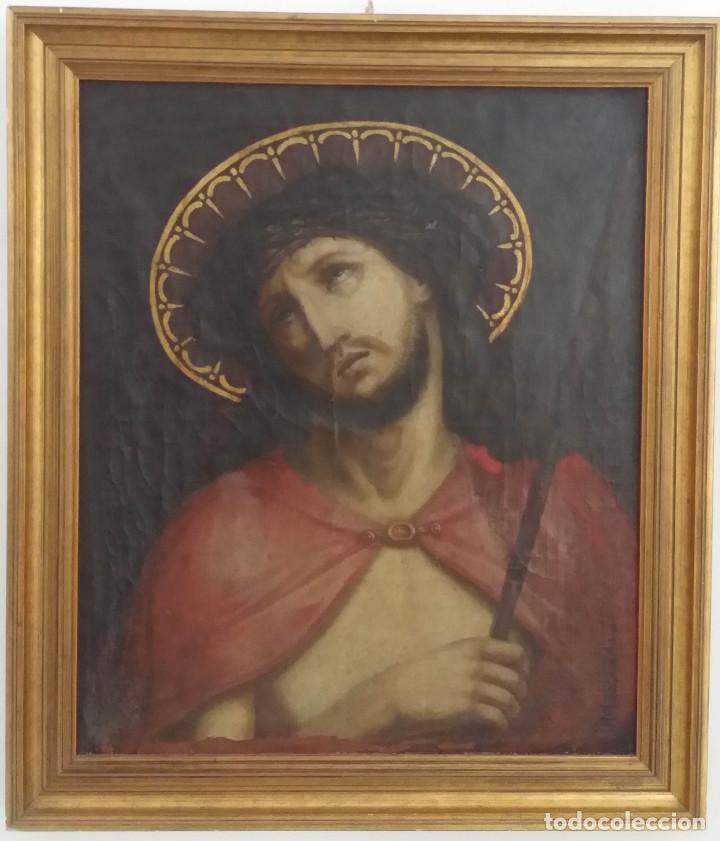 ECCE HOMO, ÓLEO SOBRE LIENZO. FIRMADO. SIGLO XVII (Arte - Arte Religioso - Pintura Religiosa - Oleo)