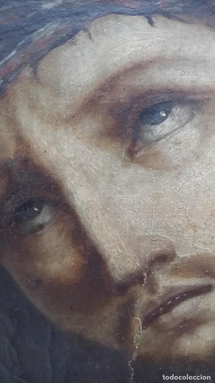 Arte: ECCE HOMO, óleo sobre lienzo. Firmado. Siglo XVII - Foto 3 - 70478885