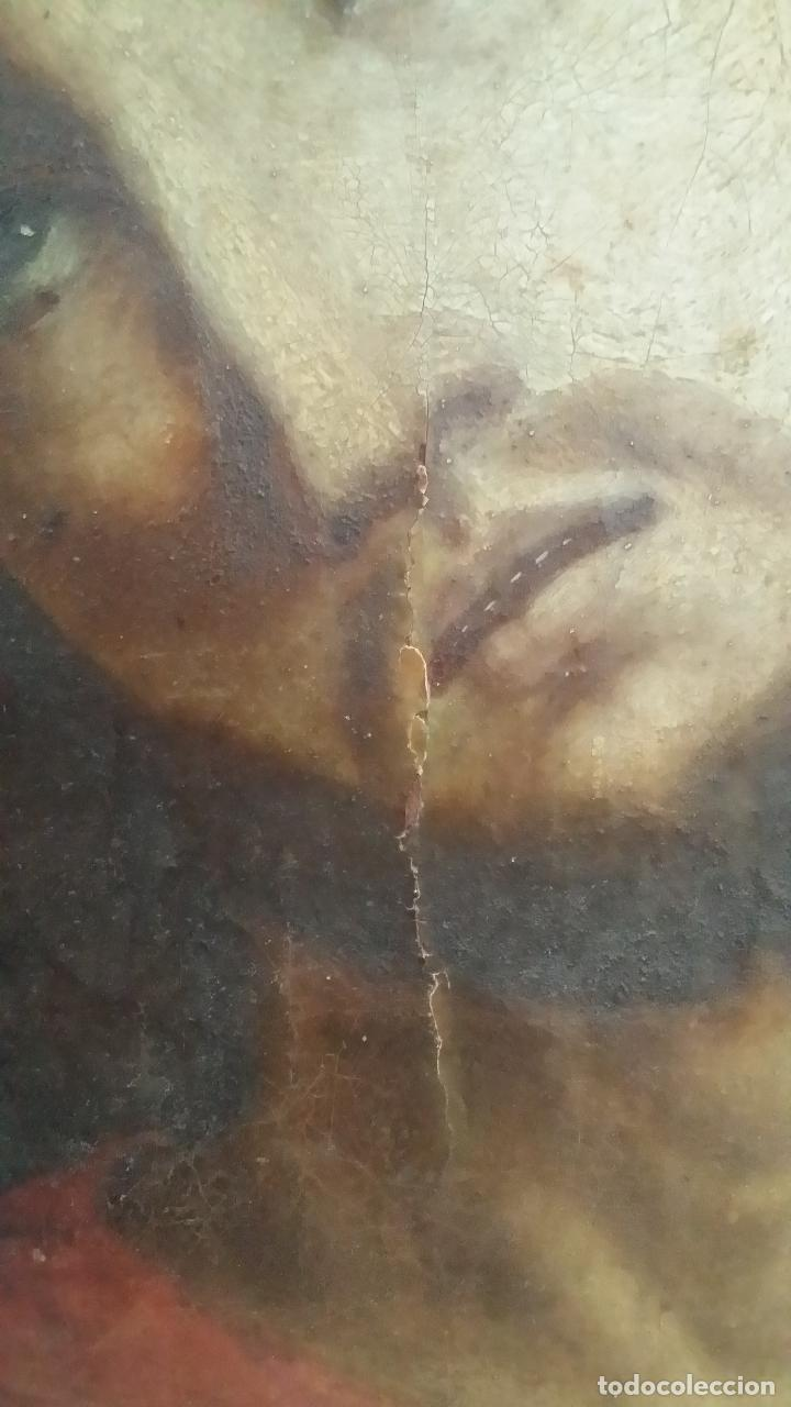 Arte: ECCE HOMO, óleo sobre lienzo. Firmado. Siglo XVII - Foto 4 - 70478885