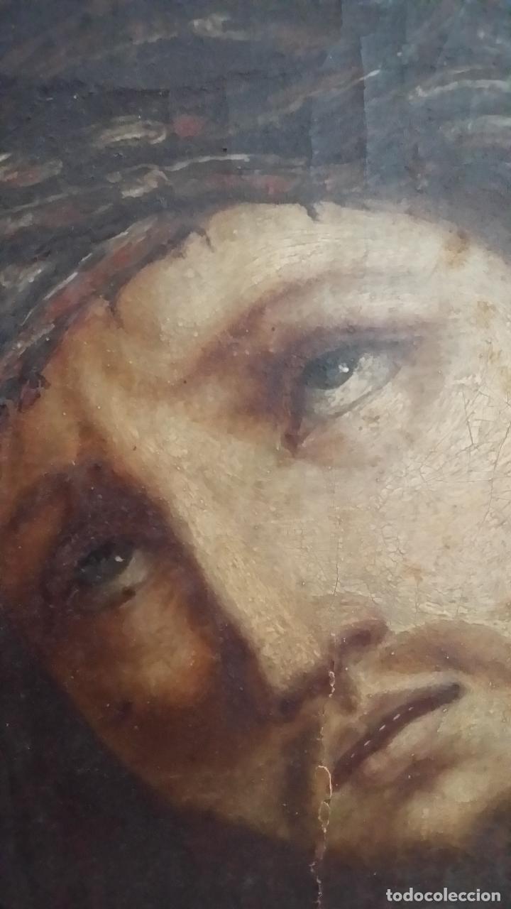 Arte: ECCE HOMO, óleo sobre lienzo. Firmado. Siglo XVII - Foto 5 - 70478885