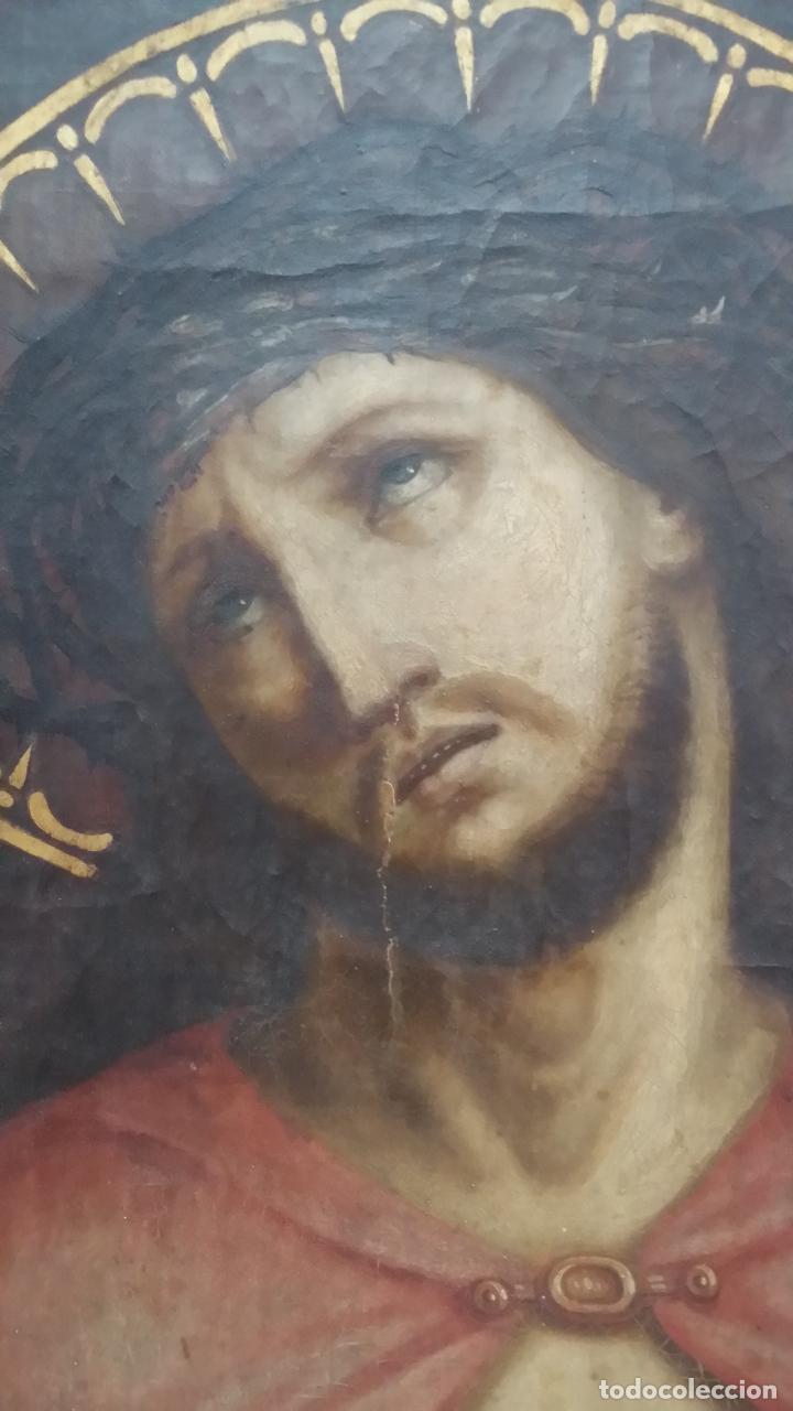 Arte: ECCE HOMO, óleo sobre lienzo. Firmado. Siglo XVII - Foto 6 - 70478885