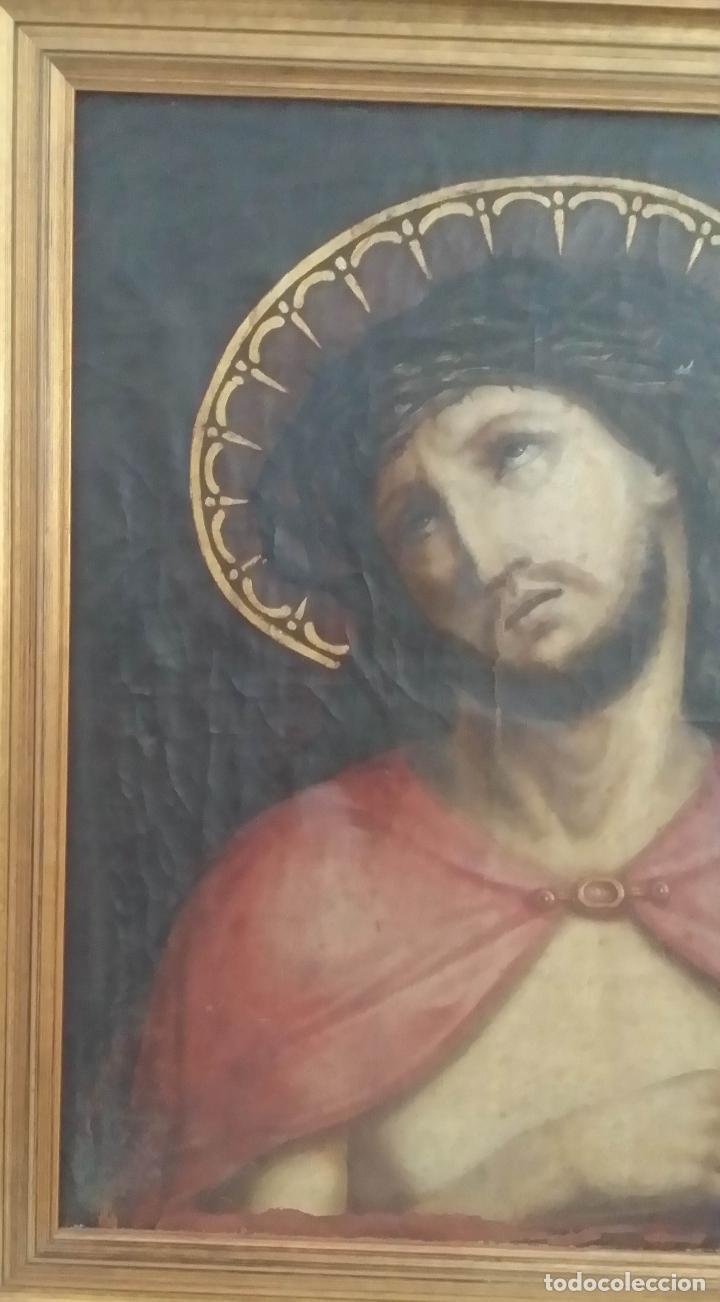 Arte: ECCE HOMO, óleo sobre lienzo. Firmado. Siglo XVII - Foto 8 - 70478885