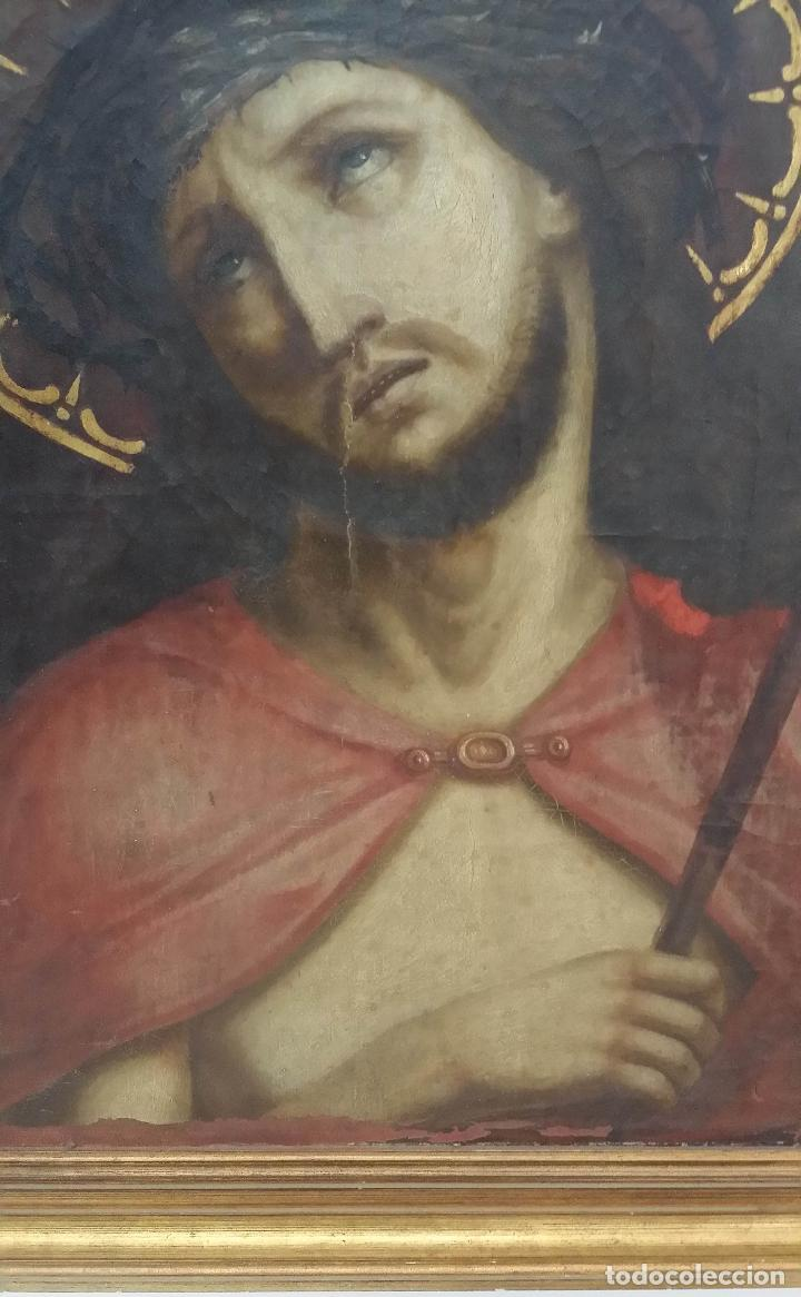 Arte: ECCE HOMO, óleo sobre lienzo. Firmado. Siglo XVII - Foto 9 - 70478885
