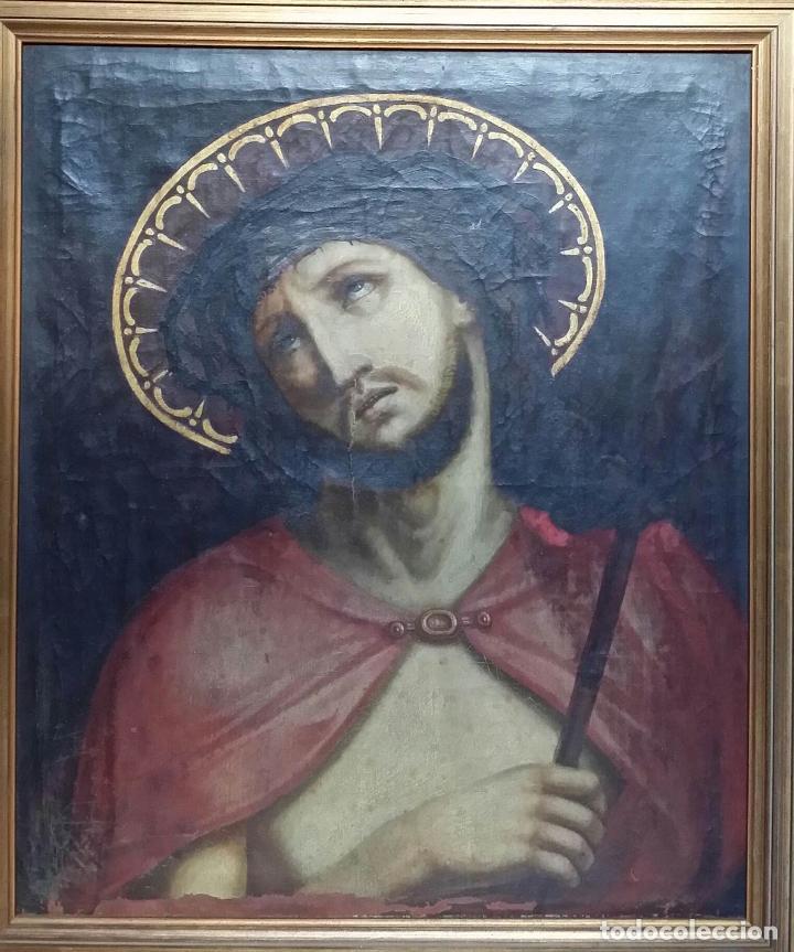 Arte: ECCE HOMO, óleo sobre lienzo. Firmado. Siglo XVII - Foto 10 - 70478885