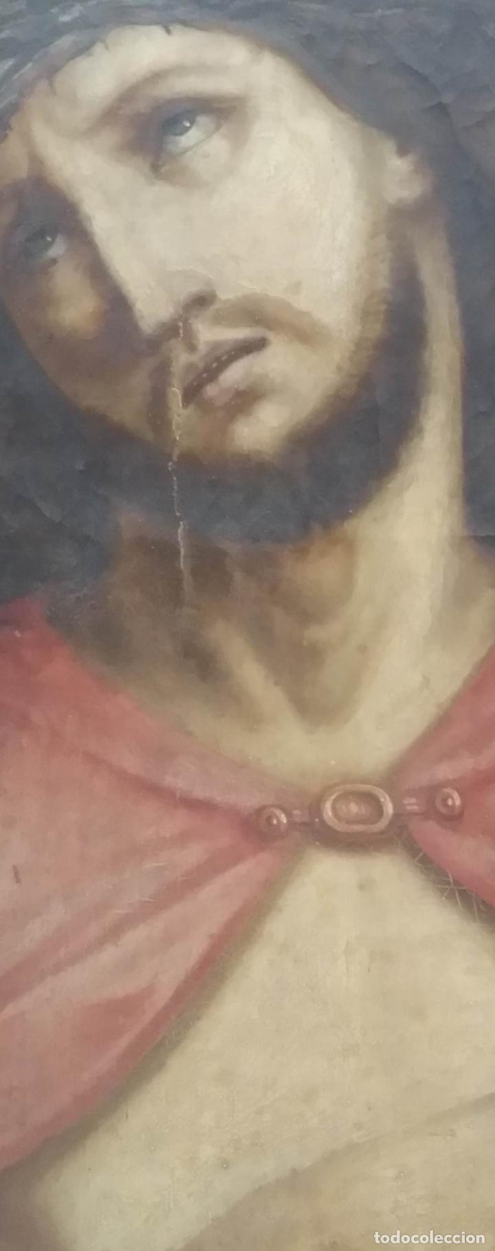 Arte: ECCE HOMO, óleo sobre lienzo. Firmado. Siglo XVII - Foto 11 - 70478885