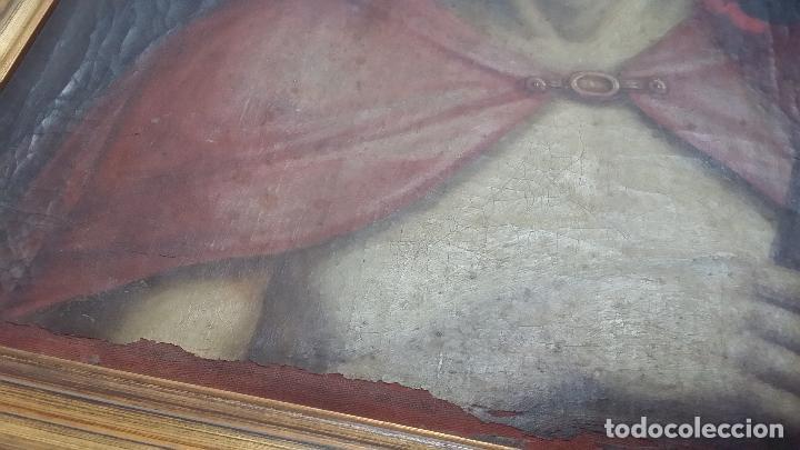 Arte: ECCE HOMO, óleo sobre lienzo. Firmado. Siglo XVII - Foto 13 - 70478885