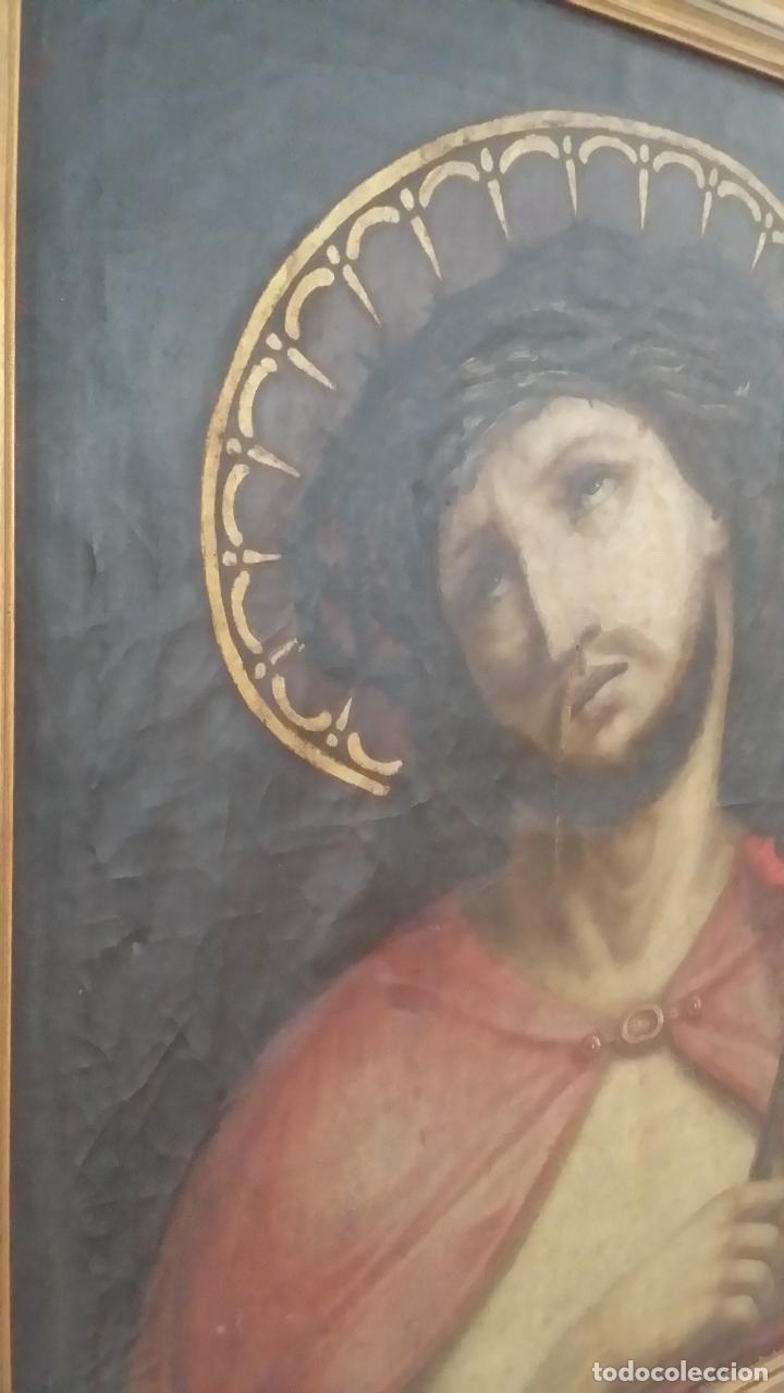 Arte: ECCE HOMO, óleo sobre lienzo. Firmado. Siglo XVII - Foto 17 - 70478885