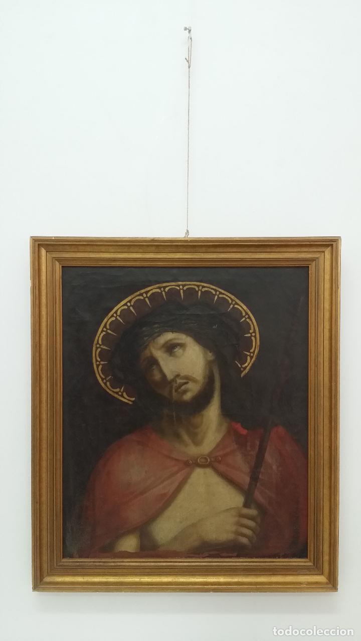 Arte: ECCE HOMO, óleo sobre lienzo. Firmado. Siglo XVII - Foto 20 - 70478885