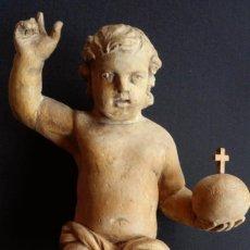 Arte: JESÚS NIÑO CON ORBE, TALLA EN MADERA / SIGLO XVIII. Lote 70486897
