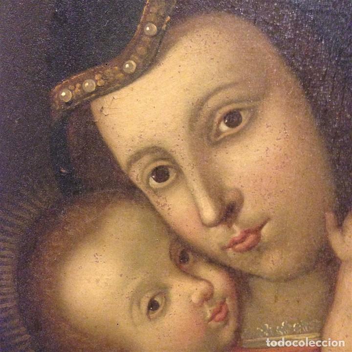 ANTIGUO Y BONITO OLEO SOBRE LIENSO. VIRGEN CON EL NIÑO. SIGLO XVI - XVII? (Arte - Arte Religioso - Pintura Religiosa - Oleo)