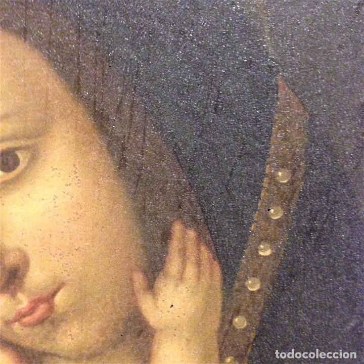 Arte: ANTIGUO Y BONITO OLEO SOBRE LIENSO. VIRGEN CON EL NIÑO. SIGLO XVI - XVII? - Foto 4 - 70578953