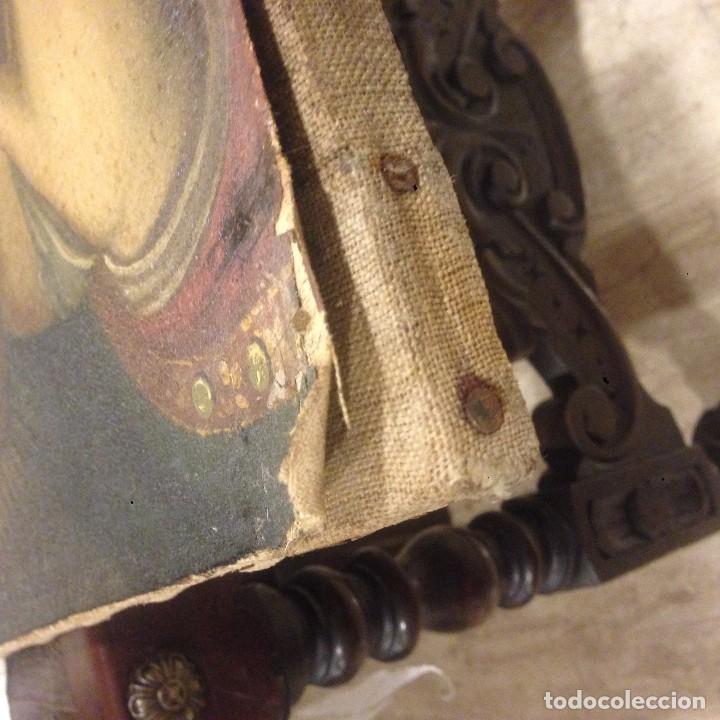 Arte: ANTIGUO Y BONITO OLEO SOBRE LIENSO. VIRGEN CON EL NIÑO. SIGLO XVI - XVII? - Foto 7 - 70578953
