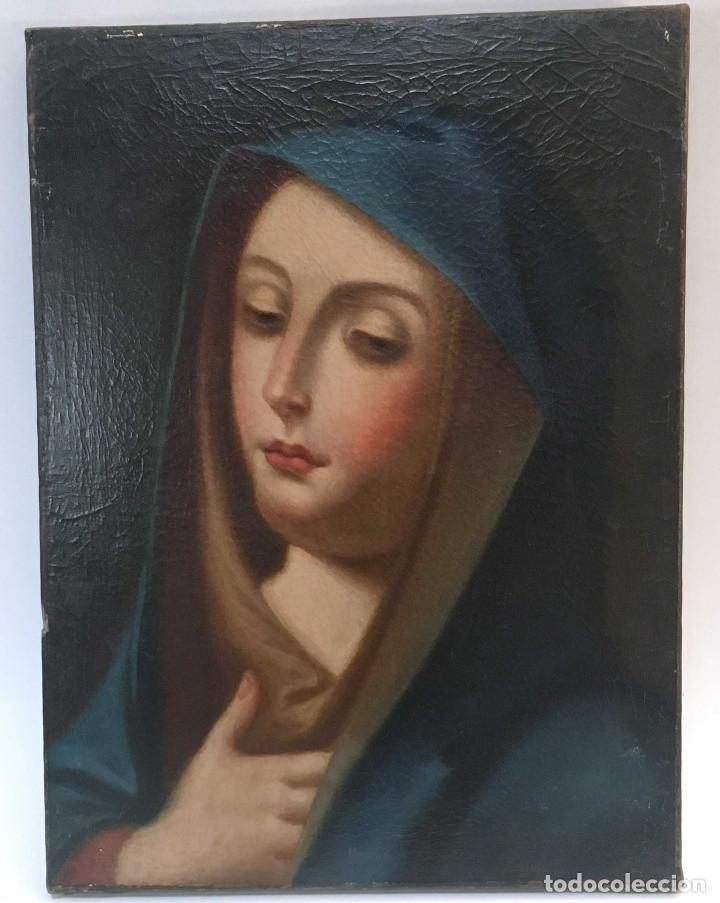 CUADRO VIRGEN DOLOROSA EN ÓLEO SOBRE LIENZO. S. XVIII (Arte - Arte Religioso - Pintura Religiosa - Oleo)